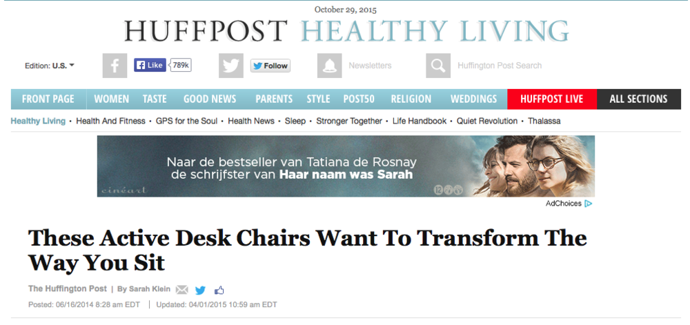 Huffington Post Article on Active Sitting